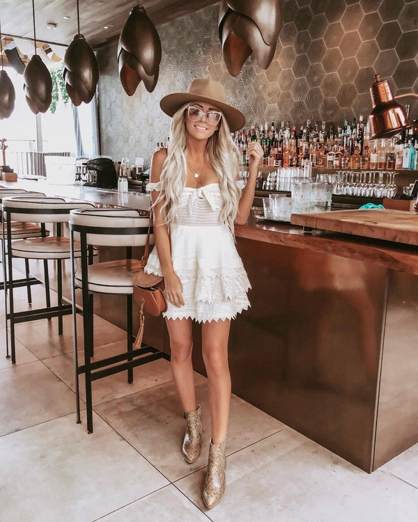 dress white dress mini dress lace dress ankle boots brown bag hat