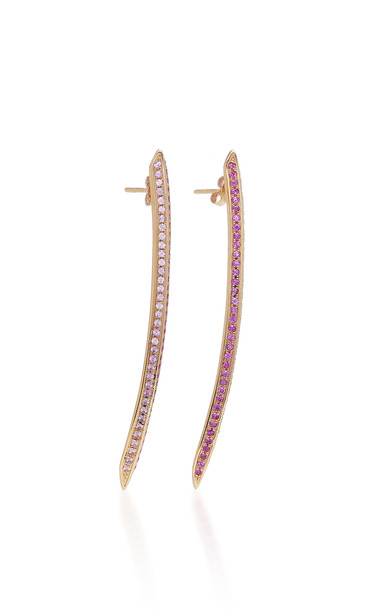 Ralph Masri Sapphire Sword Earrings in pink