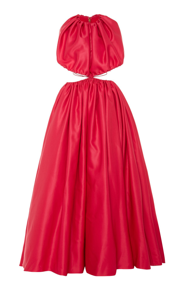 Brandon Maxwell Cutout-Accented Gathered Gown in pink