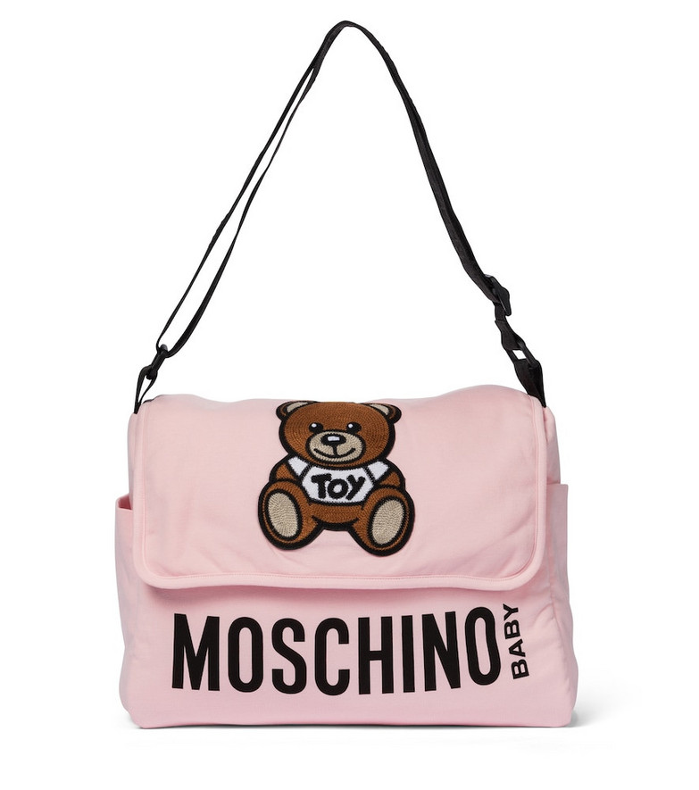 Moschino Kids Logo cotton-blend changing bag in pink