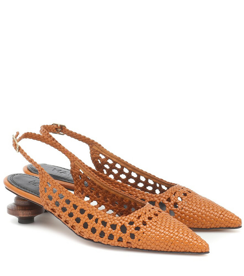Souliers Martinez Cubelles leather slingback pumps in brown