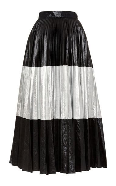 Christopher Kane Two-Tone Pleated Laminated Midi Skirt Size: 38 in black