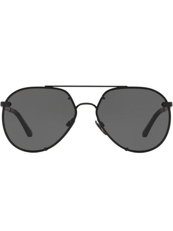 Burberry Eyewear check detail aviator sunglasses in black