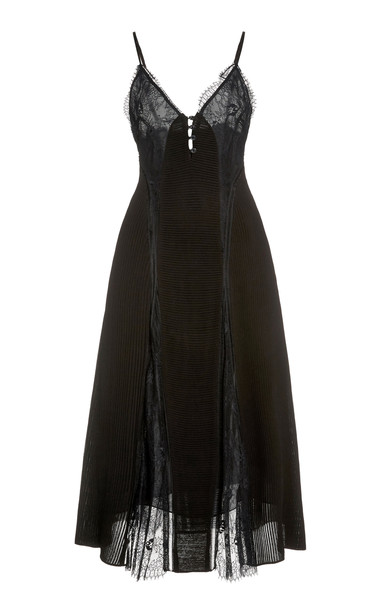 Temperley London Dreaming Lace-Detailed Satin Dress in black