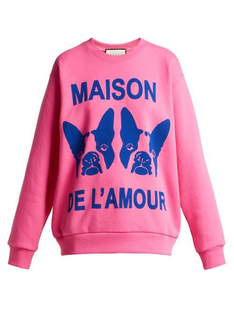 Gucci - Bosco And Orso Printed Cotton Jersey Sweatshirt - Womens - Pink