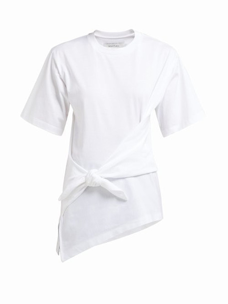 Marques'almeida - Knot Detail Cotton Jersey T Shirt - Womens - White