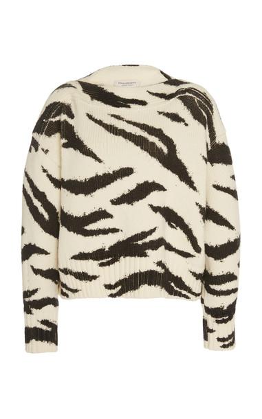 Philosophy di Lorenzo Serafini Zebra-Print Merino Wool Knit Sweater Si in white