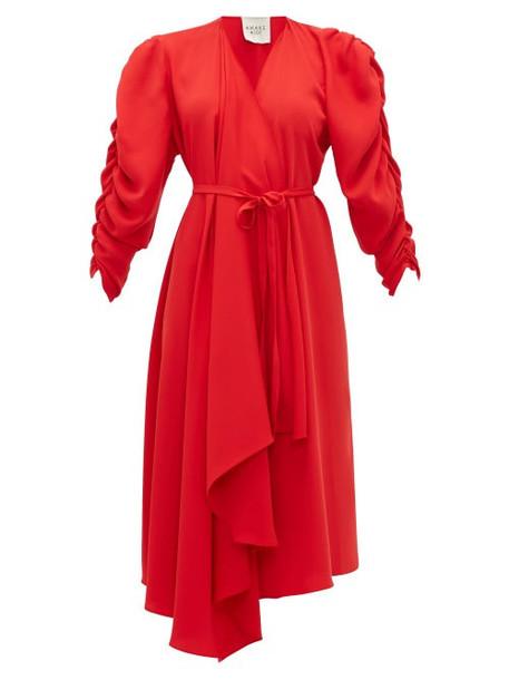 A.w.a.k.e. Mode - Gathered Sleeve Wrap Dress - Womens - Red