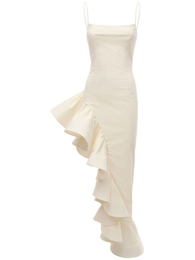 GIUSEPPE DI MORABITO Asymmetric Ruffled Poplin Long Dress in white