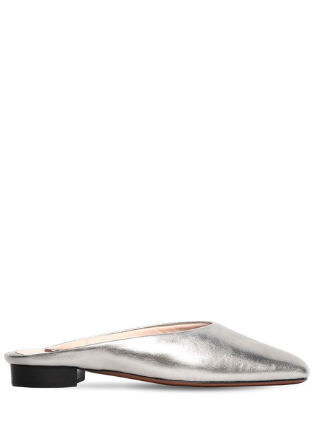 ALEXA CHUNG 10mm Baba Metallic Leather Mules in silver