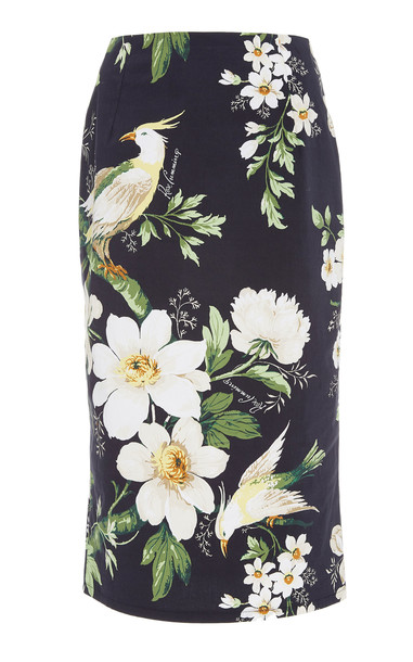 Carolina Herrera Midnight Garden High-Waisted Floral-Print Cotton-Blend Pencil Skirt in black