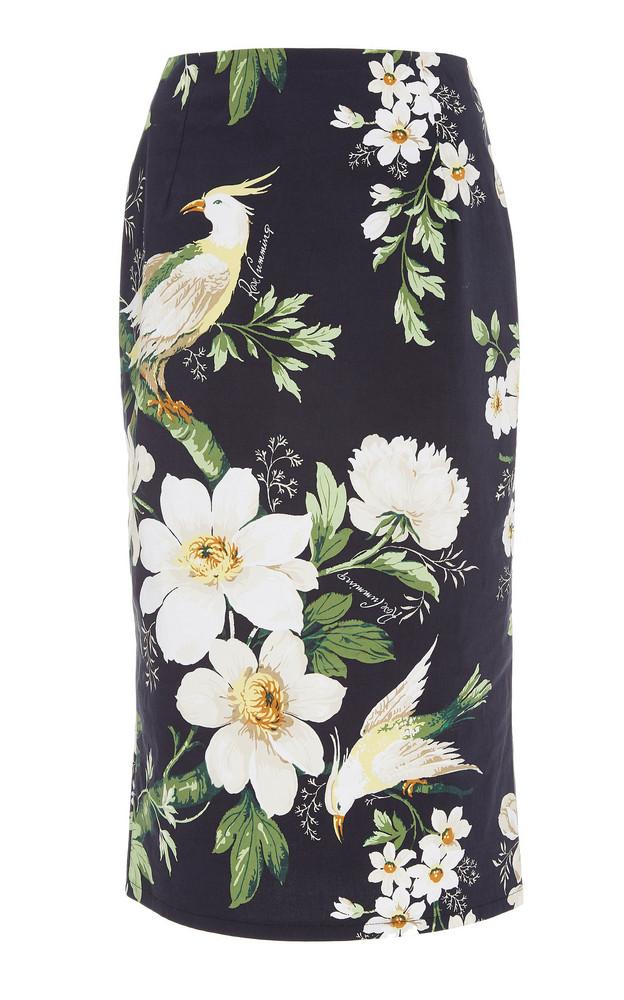Carolina Herrera Midnight Garden High-Waisted Floral-Print Cotton-Blend Pencil Skirt in black