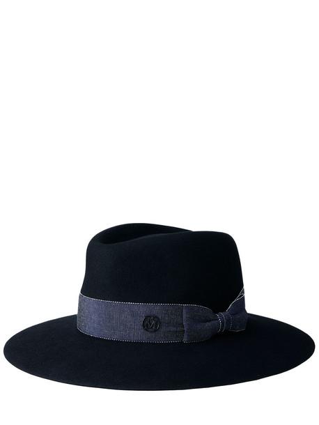 MAISON MICHEL Charles Wool & Denim Fedora Hat in black
