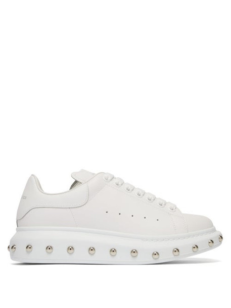Alexander Mcqueen - Studded Raised Sole Leather Trainers - Womens - White Silver