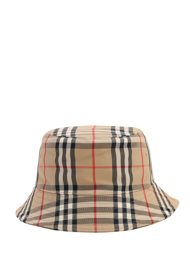 BURBERRY Check Cotton Blend Bucket Hat in beige