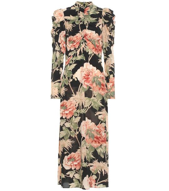 Zimmermann Espionage floral stretch-silk dress in black