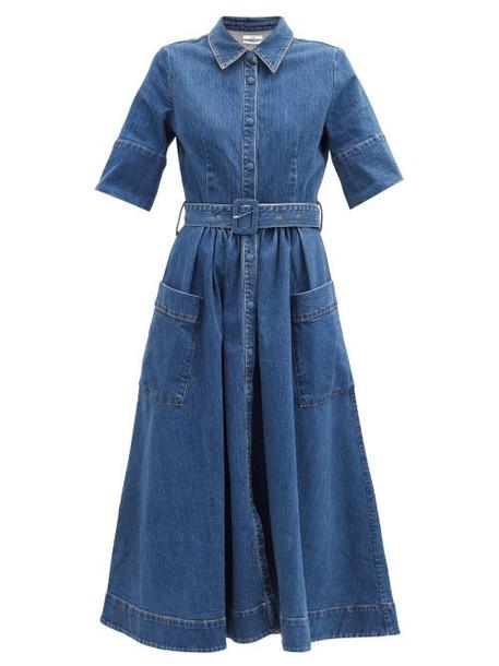Co - Belted Cotton-blend Denim Dress - Womens - Blue