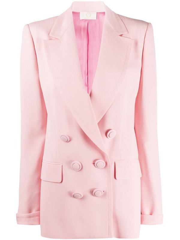 Sara Battaglia double-breasted boyfriend blazer in pink