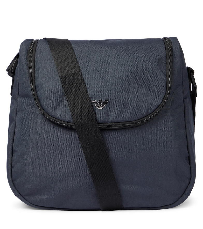 Emporio Armani Kids Baby canvas changing bag in blue