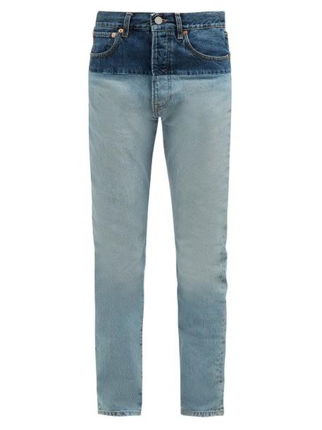 Vetements - Panelled Straight Leg Jeans - Womens - Denim