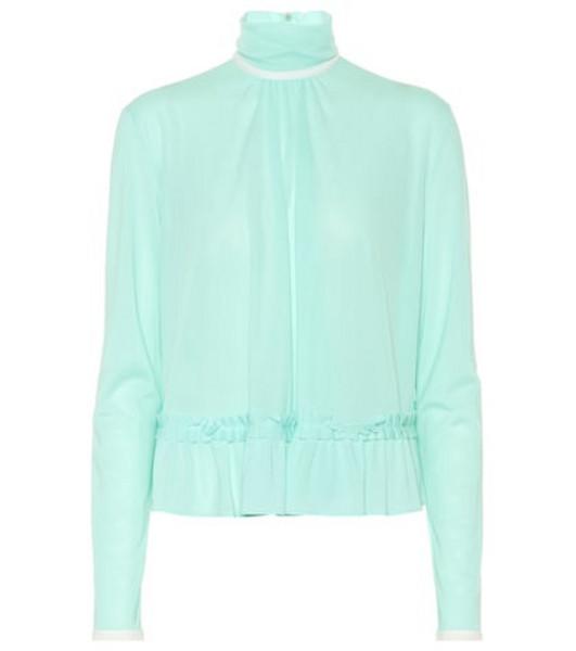 Miu Miu Ruffled jersey blouse in green