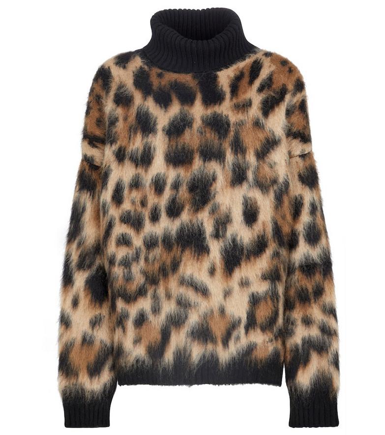 Dolce & Gabbana Leopard-print turtleneck sweater in beige