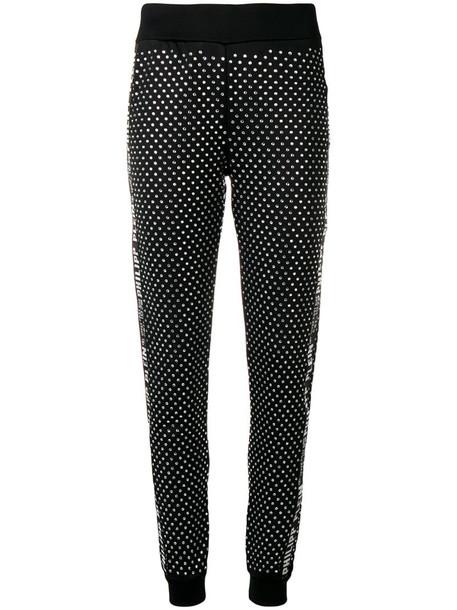 Philipp Plein crystal embellished track pants in black