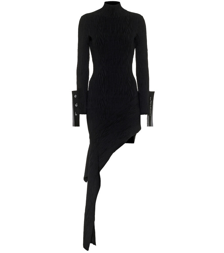Off-White Asymmetric moire minidress in black