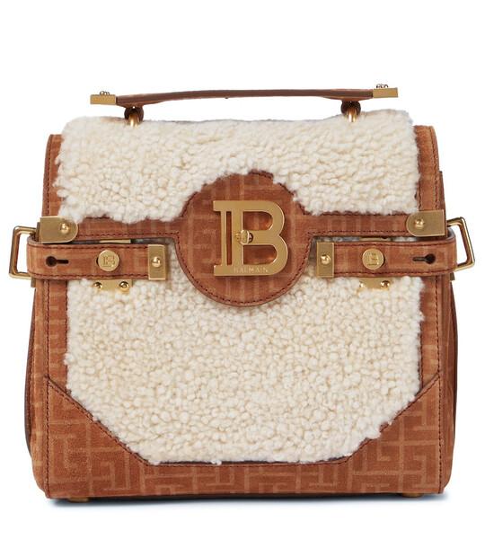 Balmain B-Buzz 23 shearling shoulder bag