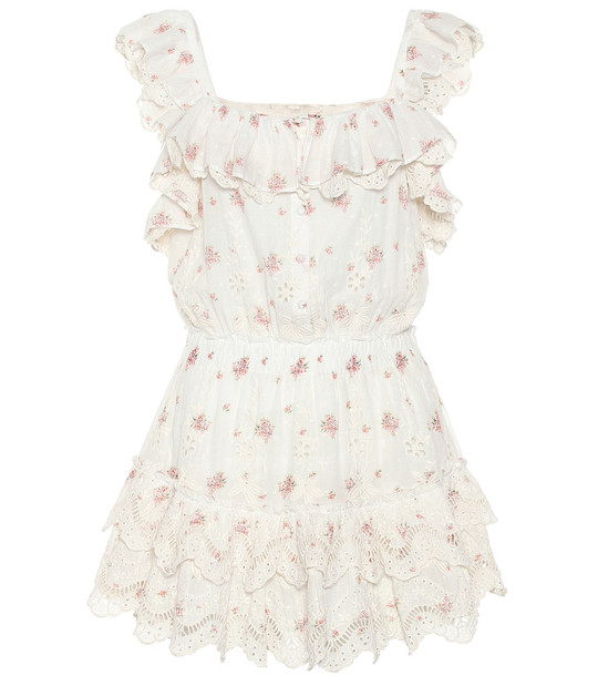 LoveShackFancy Marina floral cotton minidress in white