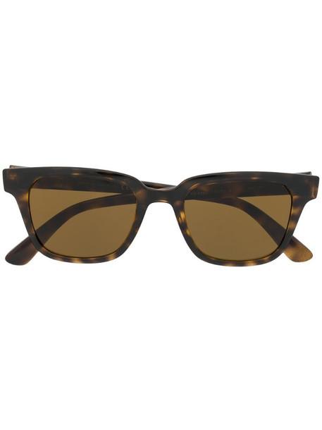 Ray-Ban polarised rectangular frame sunglasses in brown