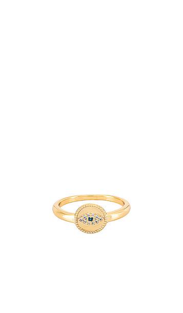 gorjana Evil Eye Coin Ring in Metallic Gold