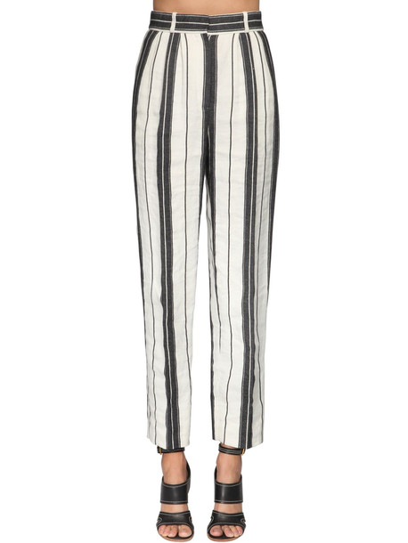 ALEXANDER MCQUEEN Stripe Cotton & Linen Straight Leg Pants in black / white