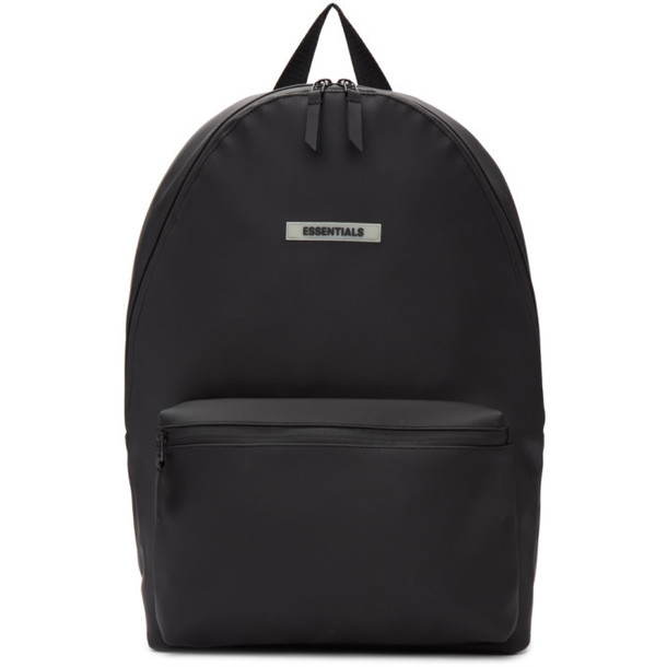 Essentials Black Coated Logo Backpack