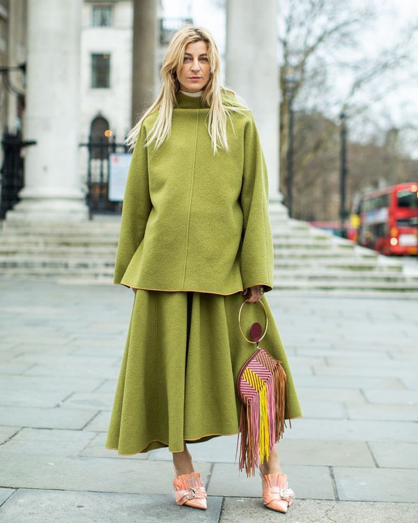 shoes mules handbag fringes set midi skirt asymmetrical skirt green skirt poncho