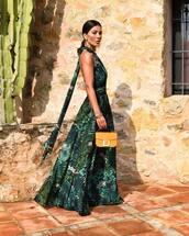 dress,maxi dress,floral dress,green dress,sleeveless,handbag,elegant dress