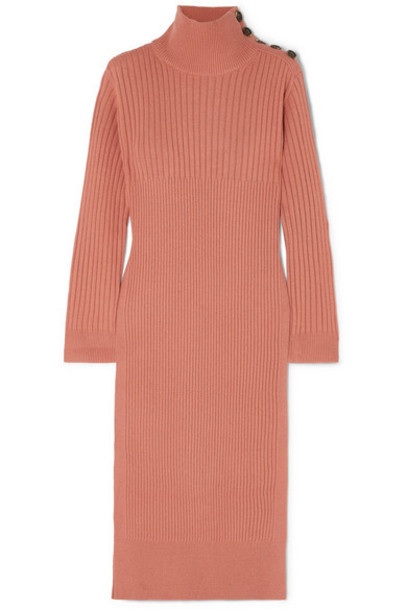 See By Chloé See By Chloé - Ribbed Wool-blend Turtleneck Midi Dress - Blush