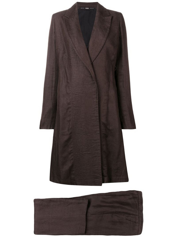 Gianfranco Ferré Pre-Owned 1990's flared coat & trousers in brown