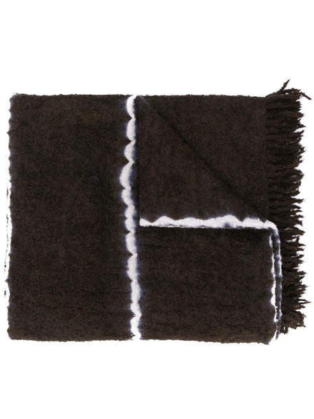 Suzusan fringed knitted scarf in brown