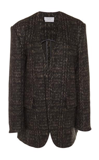 Deveaux Collarless Wool Blazer Size: 6 in grey