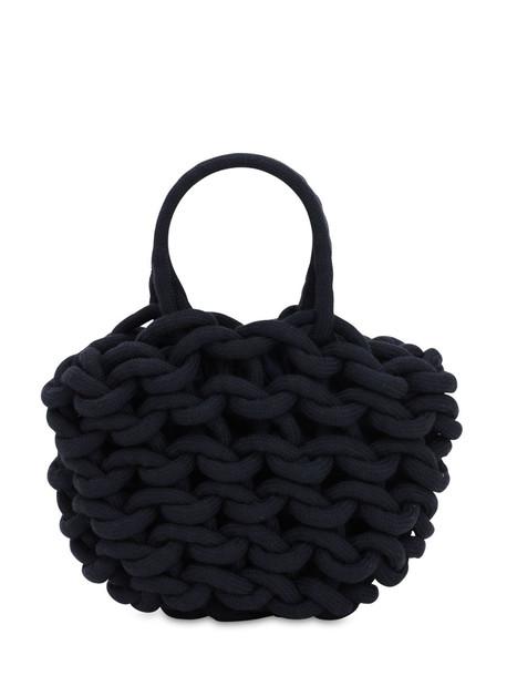 ALIENINA Julia Rope Bucket Cotton Top Handle Bag in blue