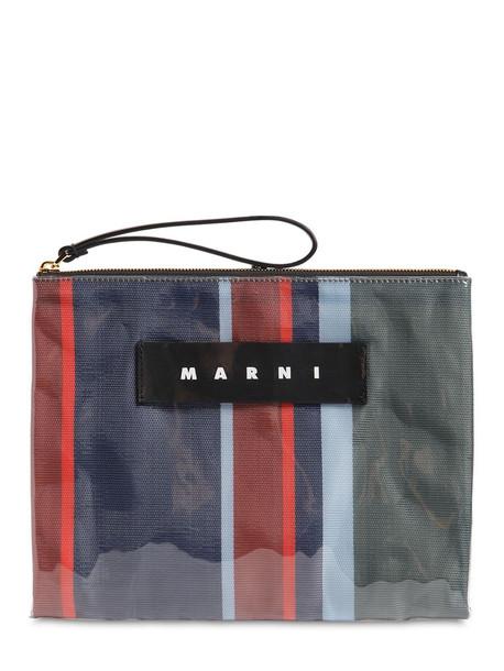 MARNI A4 Large Striped Canvas & Plastic Pouch