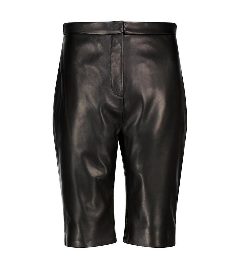 Balmain Leather shorts in black