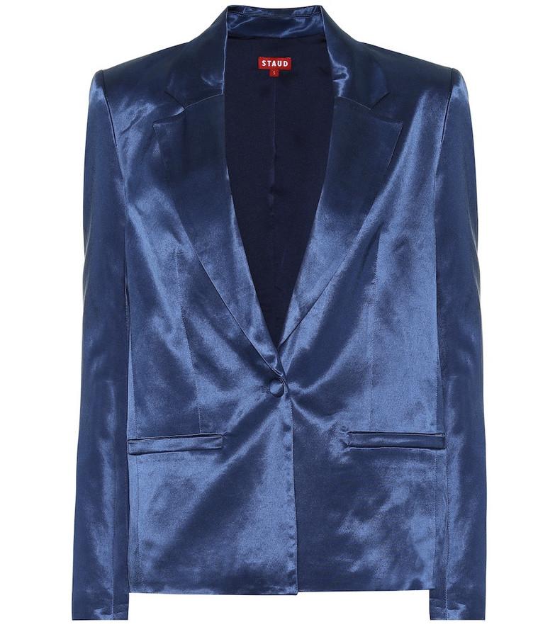 Staud Madden cotton-blend sateen blazer in blue