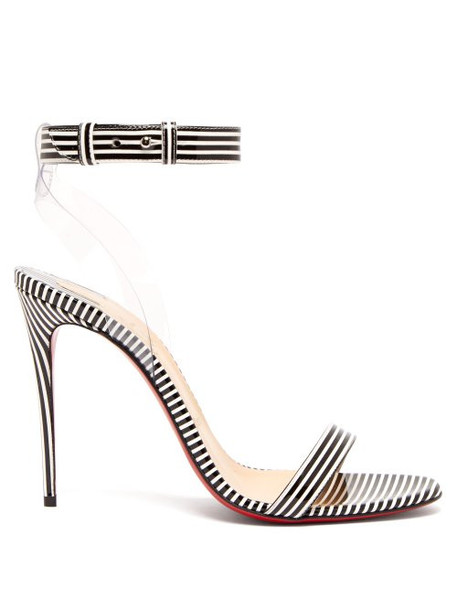 Christian Louboutin - Jonatina 100 Striped Pvc & Leather Sandals - Womens - Black Stripe