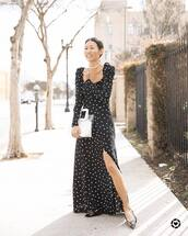 dress,maxi dress,polka dots,slit dress,black bag,long sleeve dress,balenciaga,ballet flats,transparent  bag