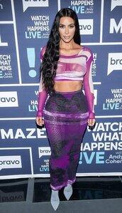 skirt,kim kardashian,kardashians,purple,bodycon skirt,crop tops,top,celebrity,sheer