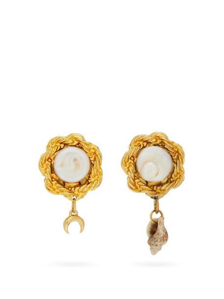 Marine Serre - Asymmetric Faux-pearl Earrings - Womens - Gold Multi
