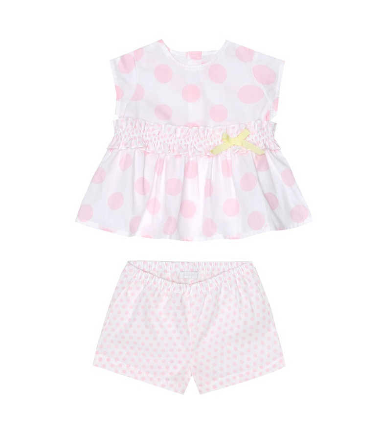 Il Gufo Baby polka-dot cotton dress and bloomers set in pink
