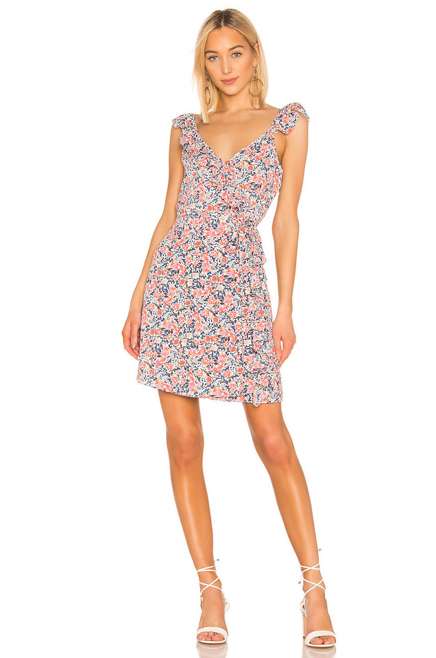 1. STATE Ruffle Edge Sunwashed Floral Wrap Dress in pink